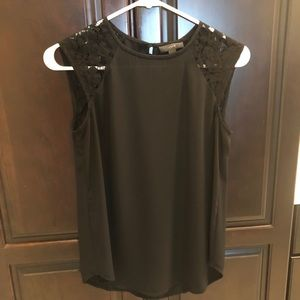 J.crew Black Lace Shoulder Sleeveless Top